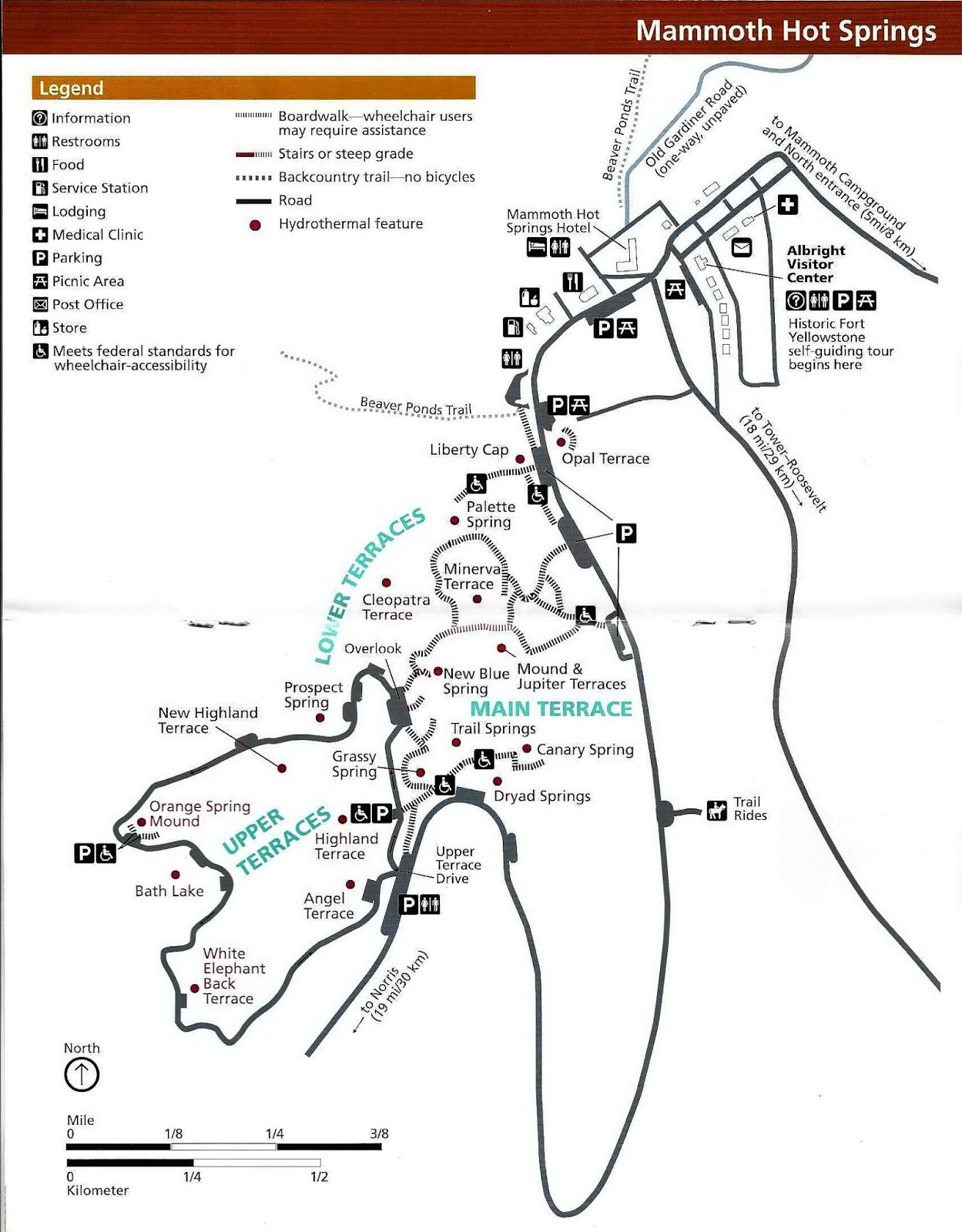 mammoth hot springs trail guide map