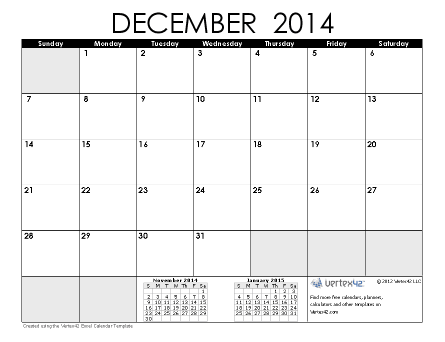 December blank calendar 2014 2016 blank calendar for 4 month calendar template 2014