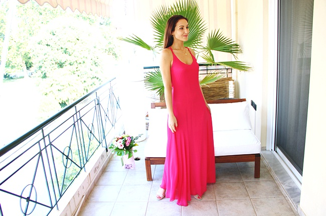 best prom pink and fuschia maxi dresses