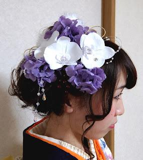 プリザーブドフラワー胡蝶蘭髪飾り/成人式
