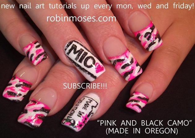 Nail Art By Robin Moses Pink Camo Nail Camo Nail Camouflage Nail