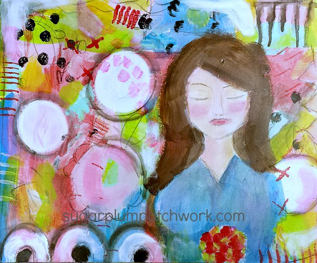 colorful art journal page with girl's face