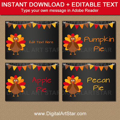 thanksgiving chalkboard food labels