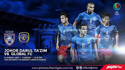 Live Streaming JDT FC vs Global FC AFC Cup 2017 14 Mac 2017
