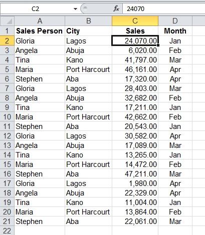 Microsoft Excel Sort