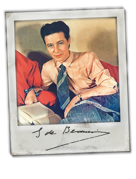 Simone de Beauvoir color portrait in vintage polaroid frame