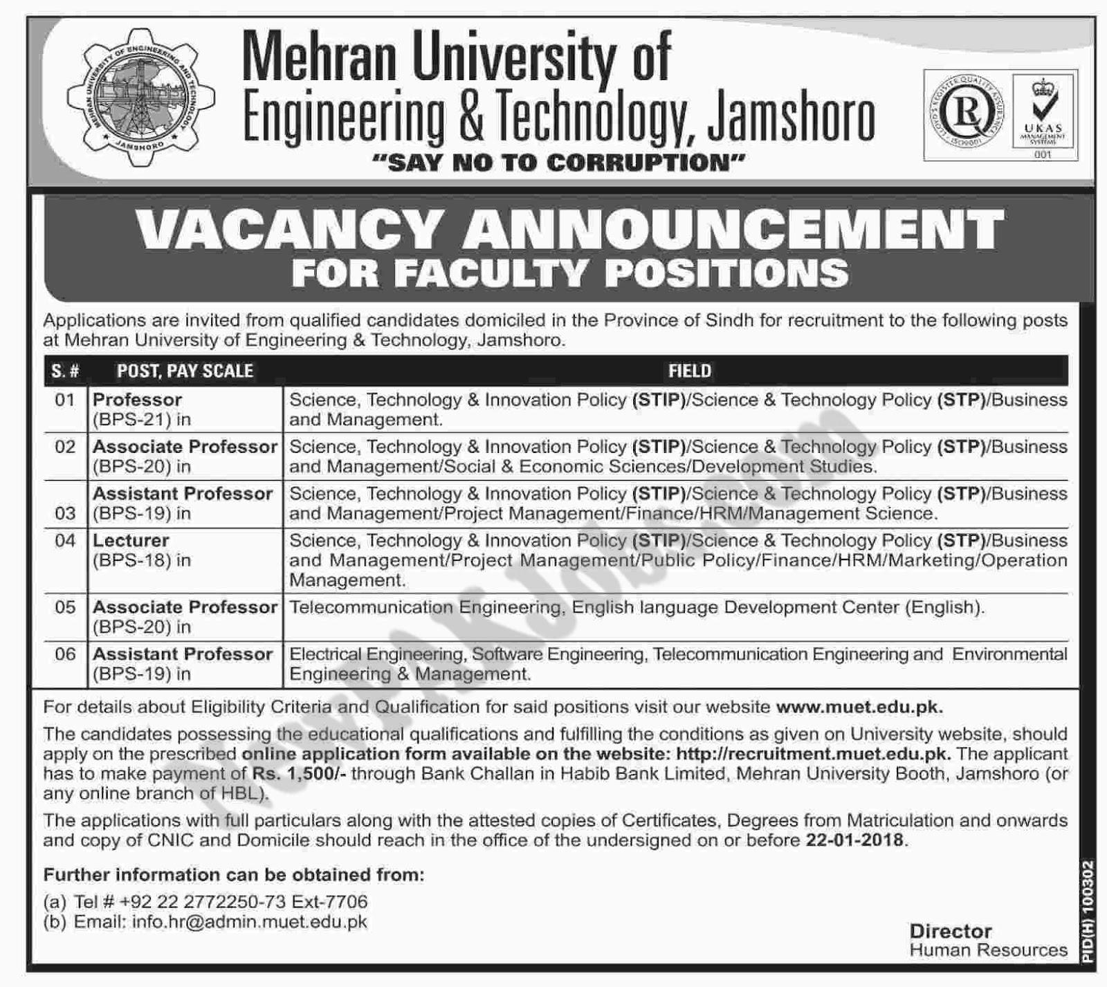 Mehran University of Engineering and Technology, Jamshoro Online Apply Jan 2018