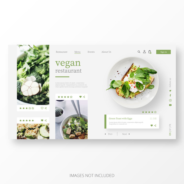 Beautiful vegan restaurant landing page template Free Vector