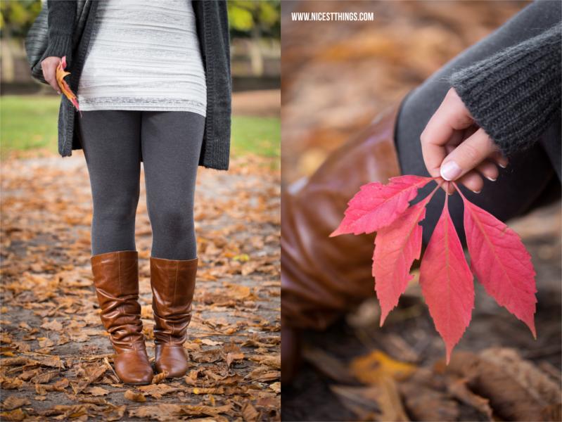 Herbstshooting im Park Herbst Portraitshooting Herbstblätter in Hand