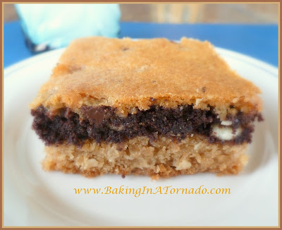 Triple Layer Cookie Bars | www.BakingInATornado.com | #recipe #bake