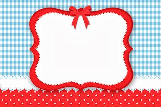 Cuadros Celestes, Rojo y Lunares Blancos: Invitaciones para Imprimir Gratis.