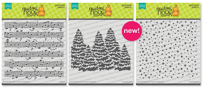 Music, Petite Snow and Evergreens Stencils | 6x6 Premium Stencils by Newton's Nook Designs #newtonsnook