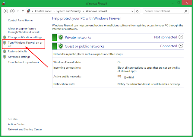 Cara Nonaktfikan Windows Firewall Windows 8