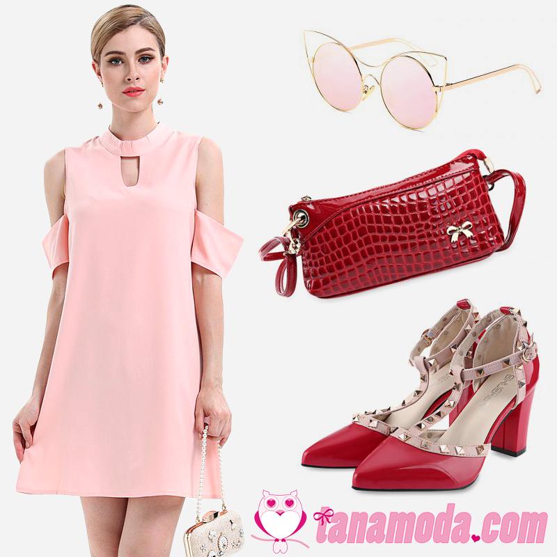 Vestido Rosa com Bolsa e Sapato Vermelhos