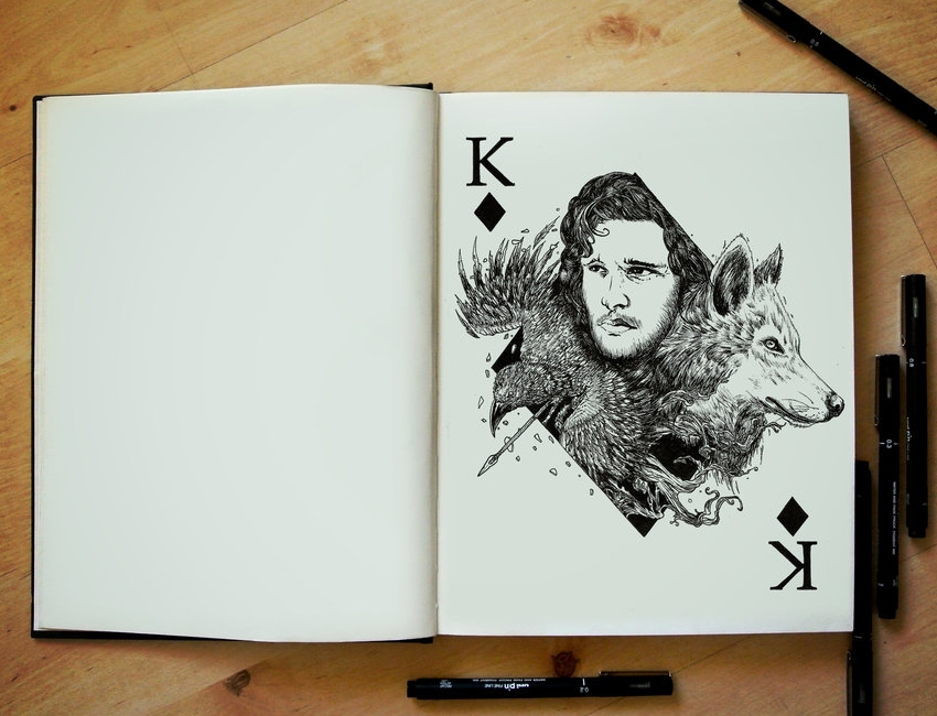 12-Game-of-Thrones-Jon-Snow-Kit-Harington-Joseph-Catimbang-Pentasticarts-Metaphysical-and-Surreal-Doodle-Drawings-www-designstack-co