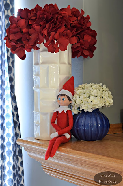 Elf on the Shelf with Red and White Flowers Christmas Decor | Christmas Home Tour - One Mile Home Style