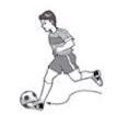 Gambar di atas menampilkan teknik menggiring bola, yaitu: