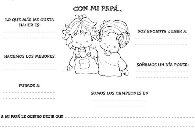 Maestra de Infantil: Tarjetas para colorear en el día del padre
