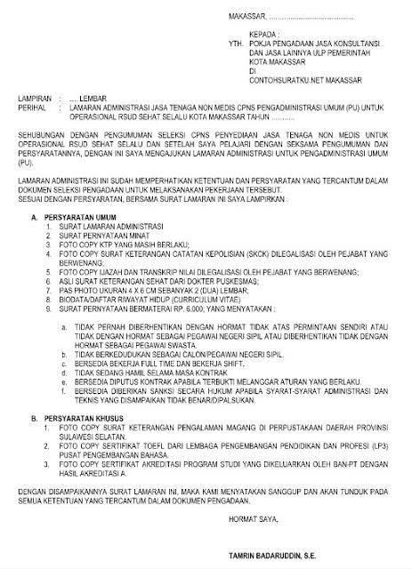 Contoh Surat Lamaran Kerja Tenaga Administrasi Kesehatan File Word