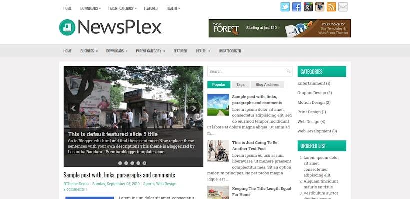 NewsPlex Free Blogger Template