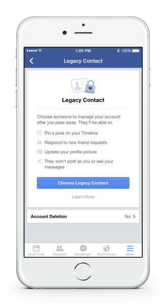 Facebook introduces 'Legacy Contact' feature - Lets people choose a legacy contact-a family member or friend who can manage their account when they pass away
