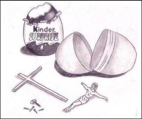 Funny Kinder Surprise Crucify Jesus Kit Cartoon Picture