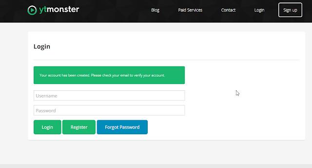 Hướng dẫn đăng ký tài khoản ytmonster - bước 3