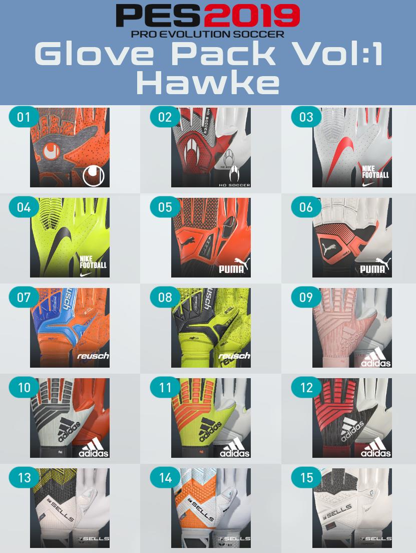 PES 2019 Glove Pack Vol:1 by Hawke