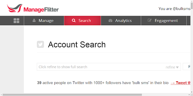 Twitter search in ManageFlitter
