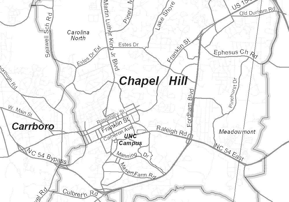 Chapel Hill North Carolina Map Of North Carolina Chapel Hill