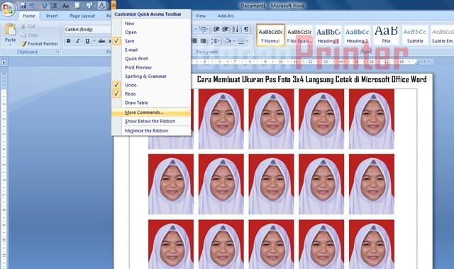 Cara Membuat Ukuran Pas Foto 3x4 Langsung Cetak di Microsoft Office Word