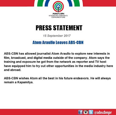 Abs-Cbn official statement on Atom Araullo leaving the network