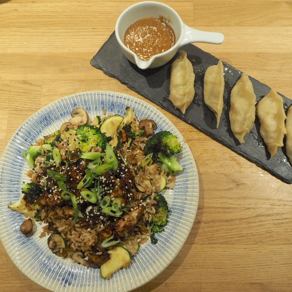 Teriyaki chicken and pork gyoza from Jamie Oliver's Cookery School