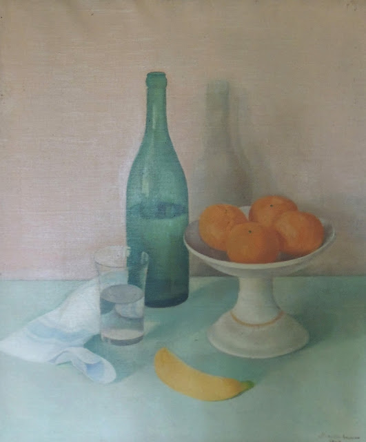 Juan Navarro Ramón bodegón frutas botella pintura posguerra