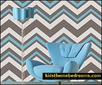 zig zag bedroom decorating ideas - Zig Zag wall decals - Chevron bedroom decorating ideas - Zig Zag Wallpaper