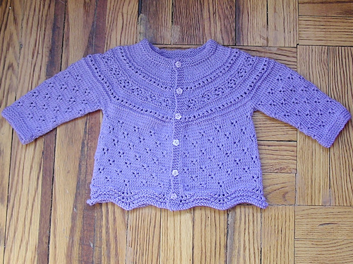 Modified Drops Eyelet Baby Cardigan - Free Pattern