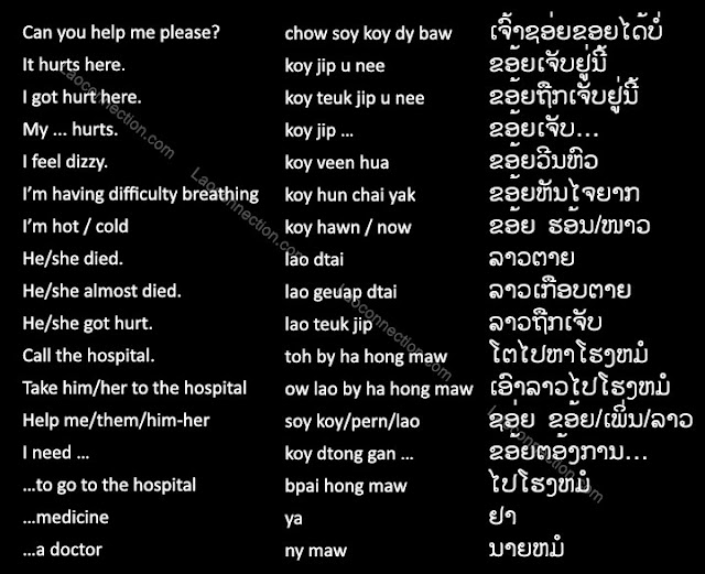 Lao Language:  Medical Related Phrases - written in Lao and English