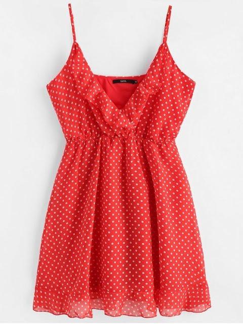 vestido rojo con lunares zaful
