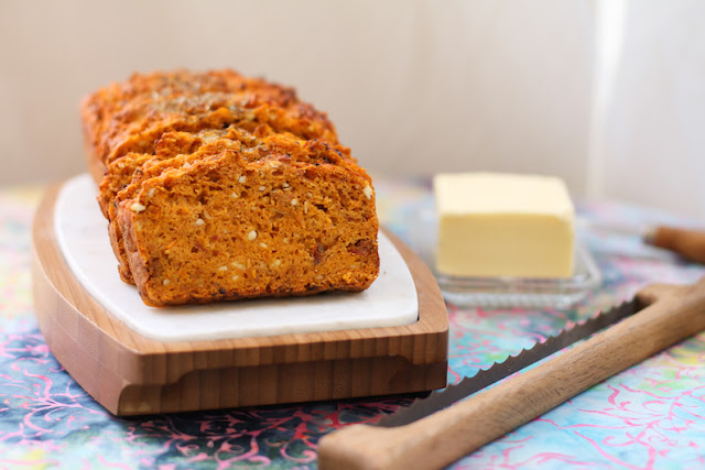 Food Lust People Love: A savory loaf that would be as welcome for breakfast as for lunch or dinner, this feta sun-dried tomato quick bread is delightful on its own, or smeared with butter or cream cheese.