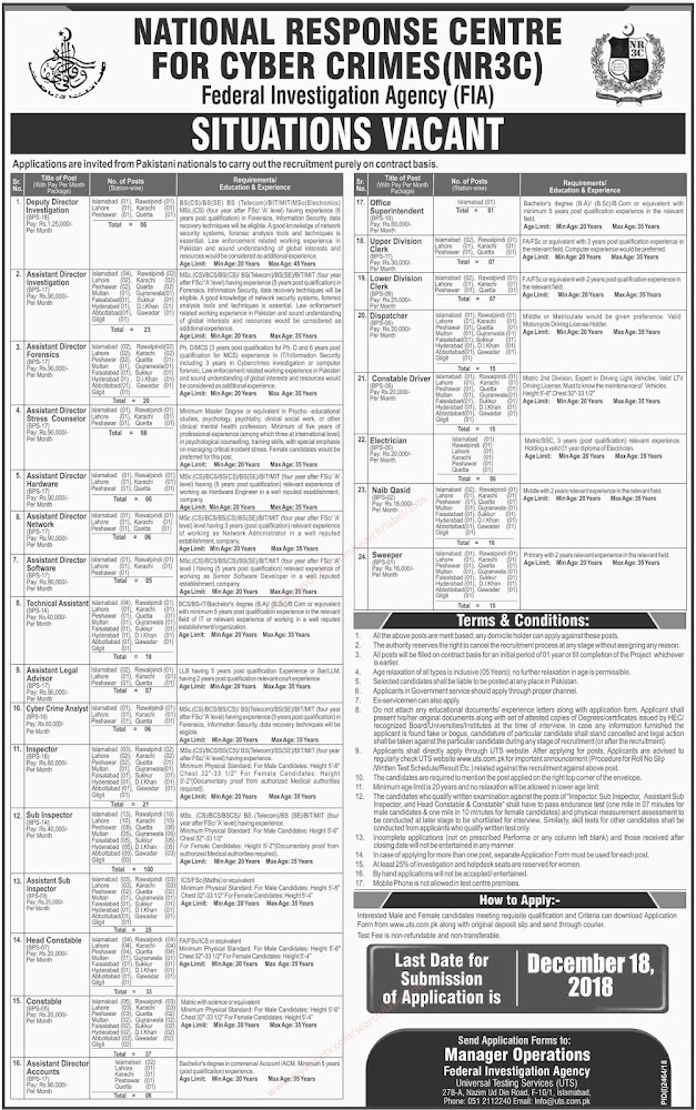 ➠ #Jobs - #Career_opportunities In National Response Centre for Cyber Crimes (NR3C) Federal Investigation Agency (FIA) – Last date for submission of application is 18th December 2018