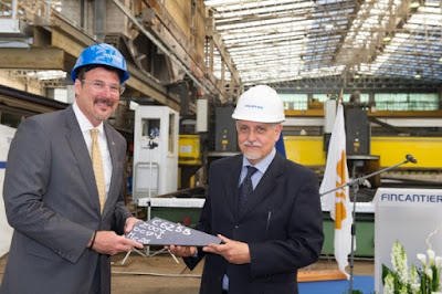 Steel Cutting Ceremony for Seabourn Ovation in attendance  Seabourn President Richard Meadows and Fincantieri shipyard Director Raffaele Davassi.