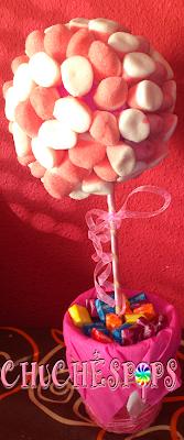 arbol de chuches rosa y blanco