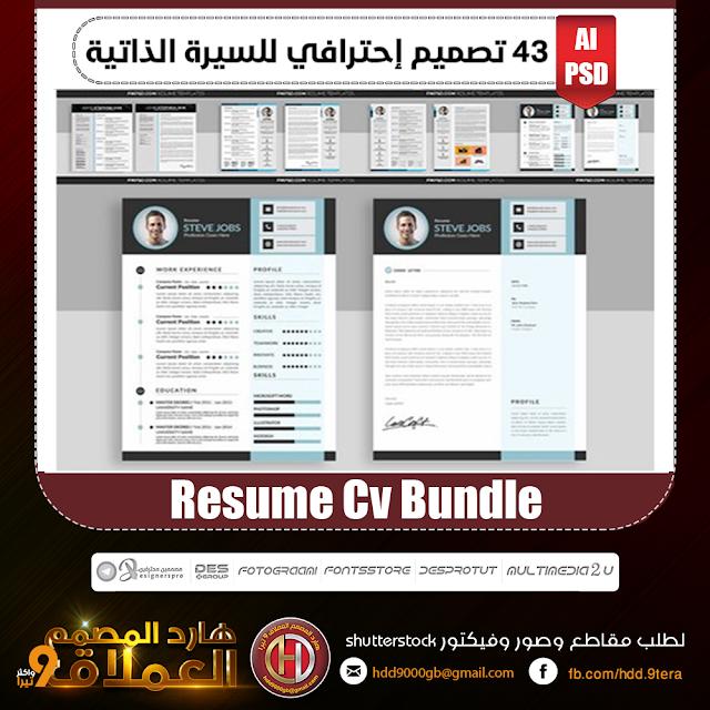 تحميل 43 تصميم إحترافي للسيرة الذاتية 43 Resume Cv Bundle هارد