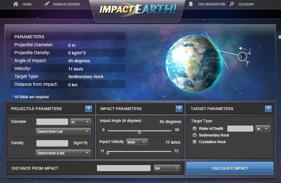 ImpactEarth, simulatore impatto asteroidi online