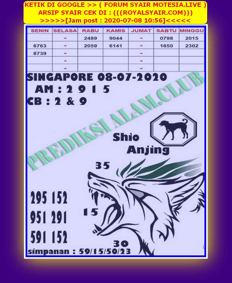 Kode syair Singapore Rabu 8 Juli 2020 130