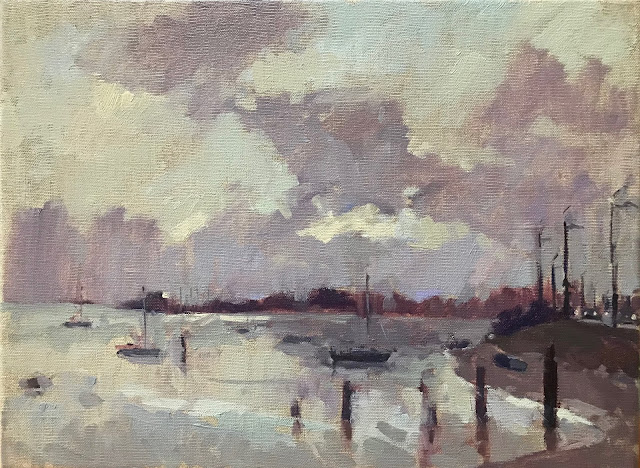 #423 'First Light, Langstone Harbour' 30x40cm