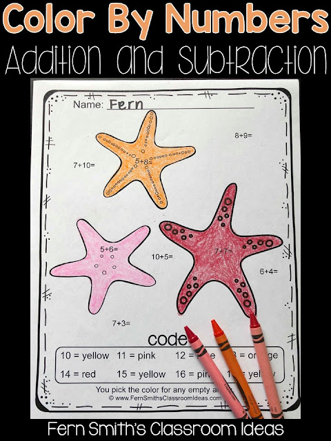 This Ocean Color By Number Addition and Subtraction Printable includes 10 pages for introducing or reviewing addition and subtraction. This bundle is perfect for differentiation in ESOL, ESL, Home Schooling and Special Education Classes, Inclusive and Exclusive, since everyone can work on different skills, different levels of those skills and yet, still have some joy and fun with coloring cute Ocean Beach Fun Themed Pictures, perfect for bulletin boards and refrigerator museum art!