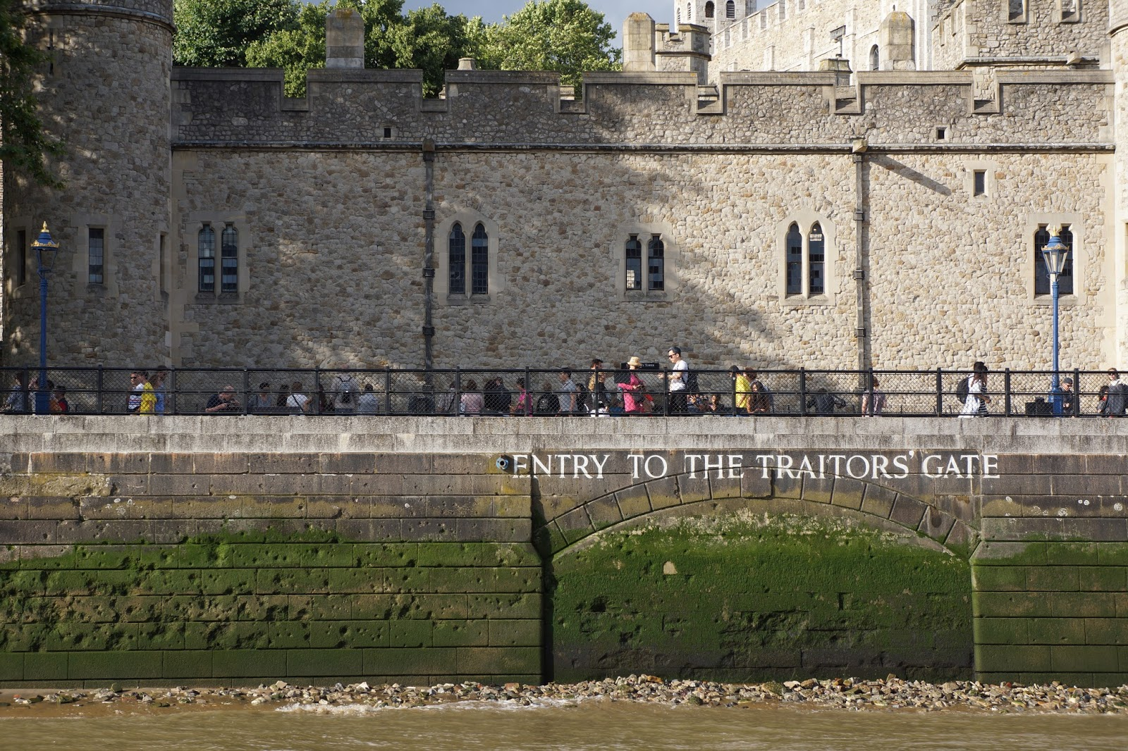 the tower entry to the traitor's gate from the riverside from a boat
