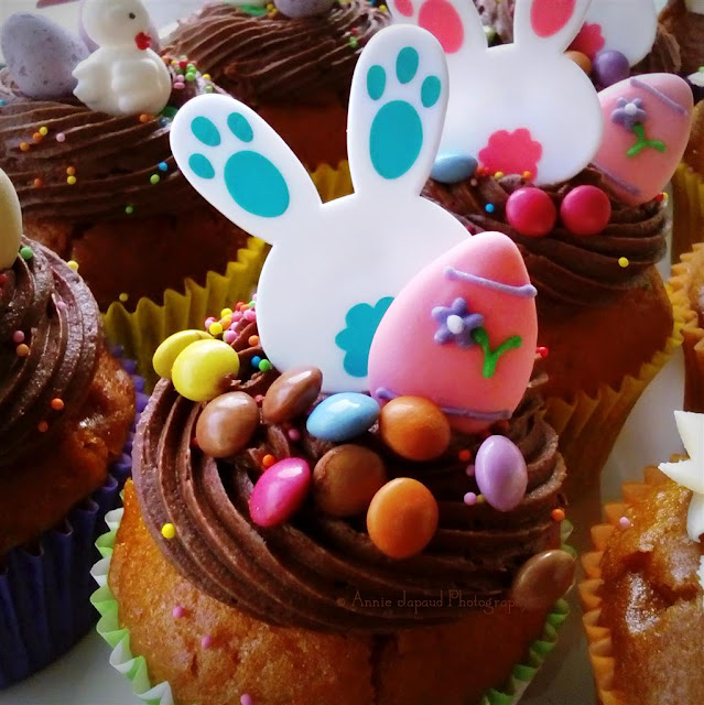 Easter cupcake with a bunny ring on top