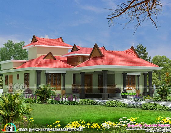 3 bedroom traditional style single floor home design